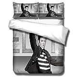 SixyeLiuzhi Klassische Porträt Bettwäsche Set Elvis Presley Drucken Bettbezug-Set König Königin Bettwäsche Kissen Das König,180x210cm(3Stück)
