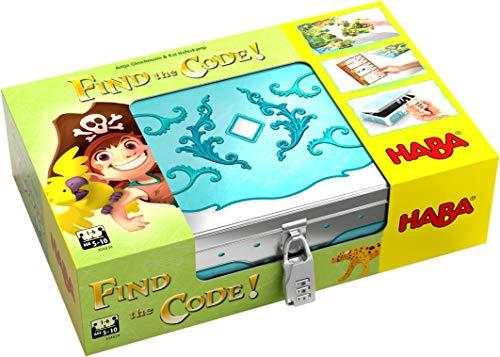 HABA 304839 - Find the code! Pirateninsel, Rätselspiel mit Schatzkarten-Puzzle und Schatzkiste zum Wiederbefüllen, Spiel ab 5 Jahren