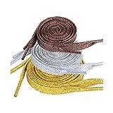 JNCH 3 Paia Lacci per Scarpe Stringhe Piatti Colorati Glitter Argento Oro Marrone (marrone 90cm, argento 110cm, oro 130cm)
