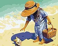 油絵 数字キットによる絵画 塗り絵 大人 手塗り Diy絵 デジタル油絵貝殻を拾う-Diyフレーム 40* 50 Cm