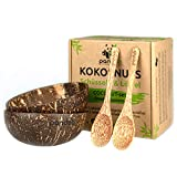 Pandoo, set di 2 ciotole in noce di cocco con cucchiai – 100% prodotto naturale – alternativa senza plastica – Fatto a mano e lucidato con olio di cocco