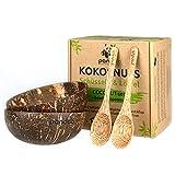 pandoo Kokosnuss Schalen 2er Set - 100% Naturprodukt - Plastikfreie Alternative - Handgefertigt und mit Kokosöl poliert