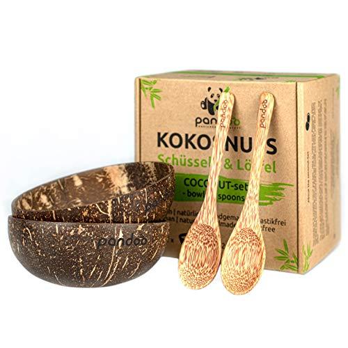 pandoo Kokosnuss Schalen 2er Set mit Löffeln | 100% Naturprodukt | Plastikfreie Alternative - Handgefertigt mit Kokosöl poliert | Coconut Bowls Schüssel Set