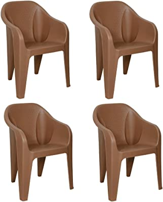 ITALICA Furniture 2019 Armchairs (Matte Finish, Camel Brown, Set of 4)