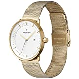 Nordgreen Philosopher Scandinavian Gold Unisex Analog 36mm Watch with Gold Mesh Strap 10014