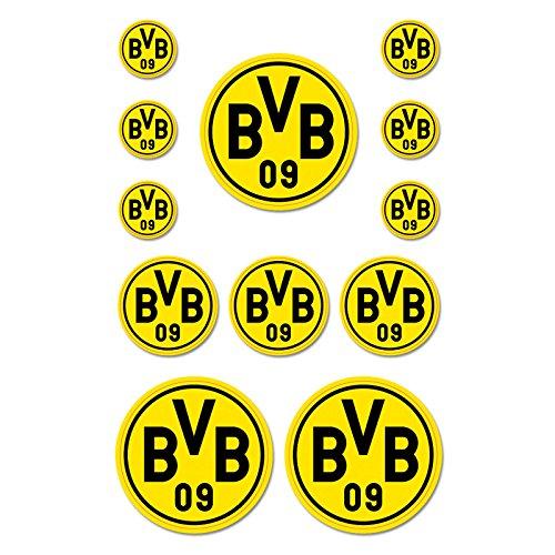 Borussia Dortmund BVB-Aufkleberkarte Aufkleber, Folie, schwarz/Gelb, one Size, 12-Einheiten