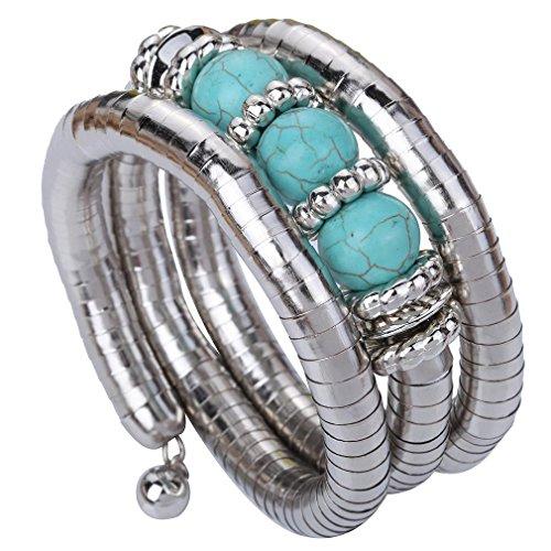 Yazilind Klassiker modern tibetischen Silber-Legierung Runde Rimous Türkis Einstellbar Armband Armreif