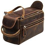 Jack&Chris Thicker Leather Toiletry Bag Dopp Kit, Unisex Travel Dopp Wash Kit & Shaving Bag for Bathroom Organizer, Double Zipper Puller & Both Side Zipper Pockets. (Distressed Tan)1800-8