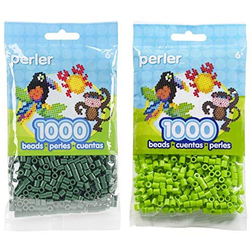 Perler Bead Bag 1000, Bundle of Evergreen and Kiwi Lime (2 Pack)