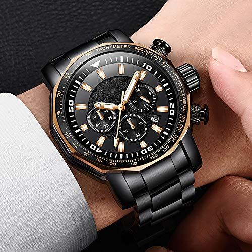 Voigoo Relojes Hombre New Large Dial Herrenuhr Top-Marke voller Stahl-Quarz-Uhr-Männer Art und Weise Sport wasserdichte Militär Uhr