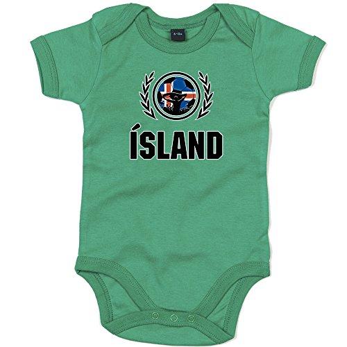 Shirt Happenz Island Weltmeisterschaft 2018#2 Premium Babybody Fan Trikot Fußball Weltmeisterschaft Nationalmannschaft Kurzarmbody, Farbe:Grün (Kelly Green BZ10);Größe:12-18 Monate
