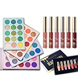 60 Colors Eyeshadow Palette 4 in1 Color Board Makeup Palette & 6 PCS Matte Birthday Edition Durable Liquid Lipstick Beauty Cosmetics Makeup Set