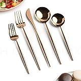 Kirin-1 Heavy Duty Silverware Set,Dishwasher Safe,Rose Gold Tableware Set Stainless Steel Copper Tableware-20pcs_Rose Gold/Copper Mirror Polish