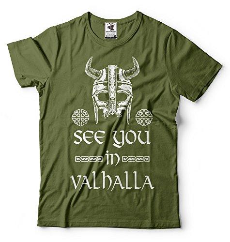 Silk Road Tees Hombres verá en Valhalla Camiseta de Viking Camiseta Ragnar Lothbrok Camiseta de Viking Camiseta X-Large Verde Militar