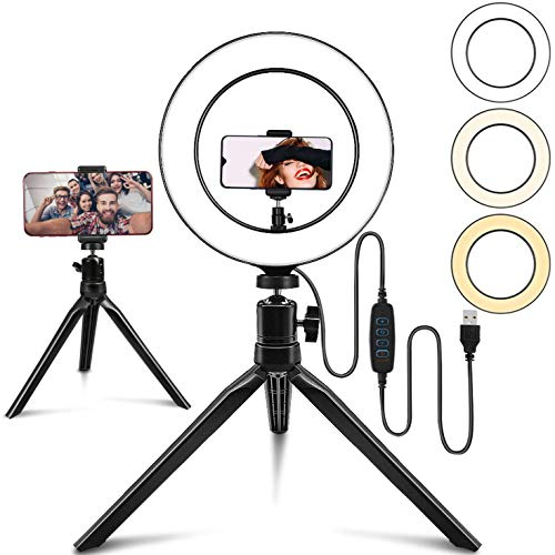Uthlusty 10' Selfie Ring Light with 2 Mini Tripod Stand, 3 Modes 10 Brightness Levels with 120 LED...