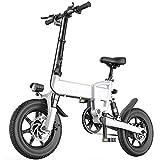 DREAMyun Bicicleta Eléctrica Plegables, 250W Motor Bicicleta Plegable 25 km/h Bici Electricas Adulto con Ruedas de 14', Batería 36V 7.8Ah, Asiento Ajustable, con Pedales,Blanco,16'/7.8AH
