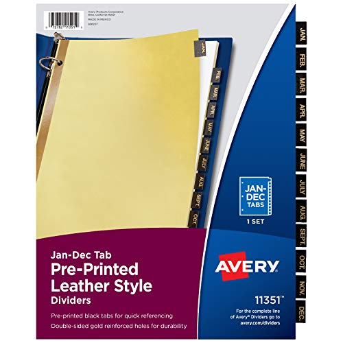 Avery Jan-Dec Tab Binder Dividers, Pre-Printed Black Leather Style Tabs, 12-Tab, 1 Set (11351)
