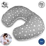 Almohada Embarazada Dormir y Cojin Lactancia bebé - pequeña cojines laterales almohada de embarazo, 100% algodón, Lavable (60 x 40 x 15 cm, Gris con estrellas)