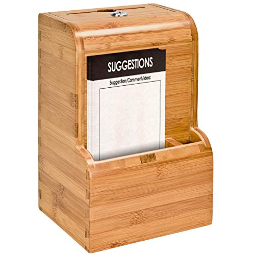 Mail Boss 7448 Locking Bamboo Comment Box - Suggestion Box - Key Drop Box - Collection Box - Donation Box - Ballot Box - with 25 Suggestion Cards (Natural)