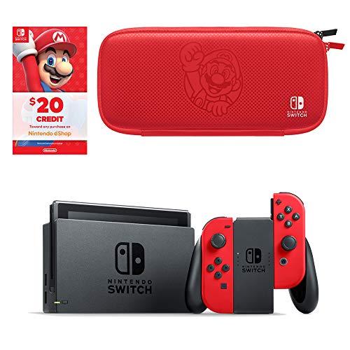 Nintendo Switch Bundle with Mario Red Joy-Con, $20 Nintendo eShop Credit, & Carrying Case