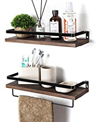 Storage Shelves - Floating shelves are made of high-quality radiata pine wood with dampproof, heat-resistant. Metal structure design with protective guards and towel holders, durable, bearing capacity strong. Best Choice - In the kitchen, the floatin...
