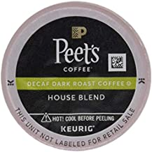 Peet's Coffee Decaf House Blend K Cup Coffee Pods for Keurig Brewers, Dark Roast, 10 Pods, 4.3 Ounce