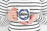 Taza con nombre floral, taza personalizada, taza personalizada, taza de café personalizada, taza de monograma, regalo personalizado, taza de dama de honor, tazas de nombre personalizado, tazas personalizadas para el hogar, oficina, mujeres, hombres, taza de té, regalo divertido, 325 ml, color blanco