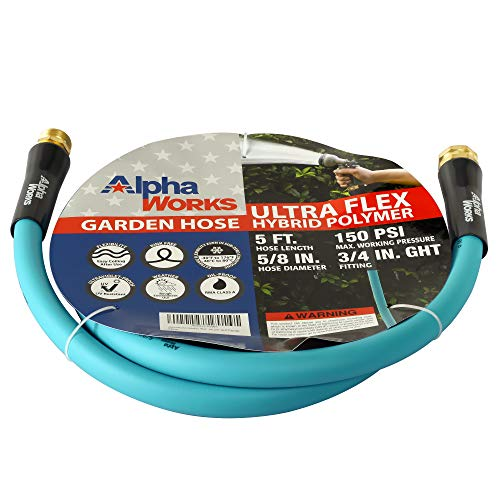 AlphaWorks Garden Water Hose 5/8' Inch x 5' Foot Heavy Duty Premium Commercial Ultra Flex Hybrid Polymer Lead-in Hose Max Pressure 150 PSI/10 BAR with 3/4' GHT Fittings