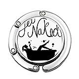 Get Naked Black Script Personalizado Varios diseños de patrón de Hombro Bolso Plegable Gancho de suspensión