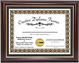 CreativePF [16x20-Diploma] Mahogany Frame with Gold Rim, Black Matting Holds 16x20-inch Documents with Scratch Resistant UV Acrylic and Installed Wall Hanger