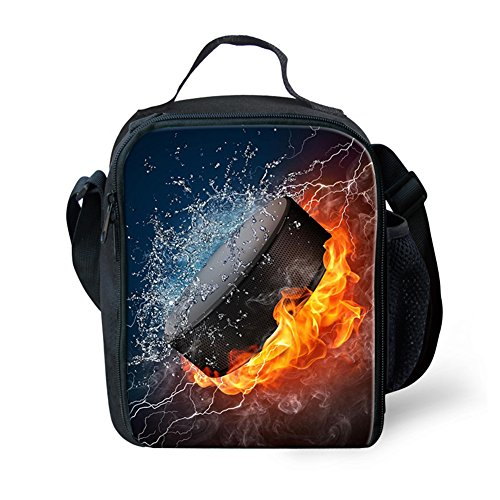 Mumeson Water Fire Ice Hockey Design Thermal Lunch Bag Insulated Lunch Tote Soft Bento Cooler Kit