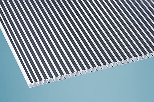 Plancha alveolar de policarbonato (16 mm, 980 x 5000 mm), diseño de rayas, color gris oscuro