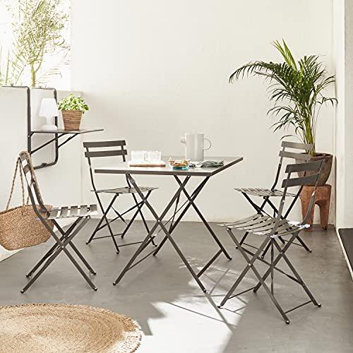 Mueble de jardín Plegable para Bistro - Emilia Rectangular Gris Antracita - Mesa de 110x70 cm con Cuatro sillas Plegables, Acero Pintado en Polvo