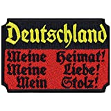 Deutschland Aufnäher Meine Heimat - Meine Liebe Aufbügler Patriot Patch Biker Bügelbild Flagge Sticker Germany Geschenk Rocker DIY Applikation Jacke/Weste/Boots/Motorradkoffer 80x55mm