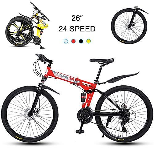 Super-ZS Bicicleta De Montaña Plegable, Ruedas De Radios De 30 Pulgadas Y 26 Pulgadas 27 Velocidades (suspensión Delantera Central) Frenos Mecánicos De Doble Disco Bicicletas Todoterreno para Adultos