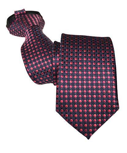 Gravata masculina com zíper Skinny Business Wedding listrada de bolinhas de microfibra pré-amarrada, Navy Red Dot, One Size