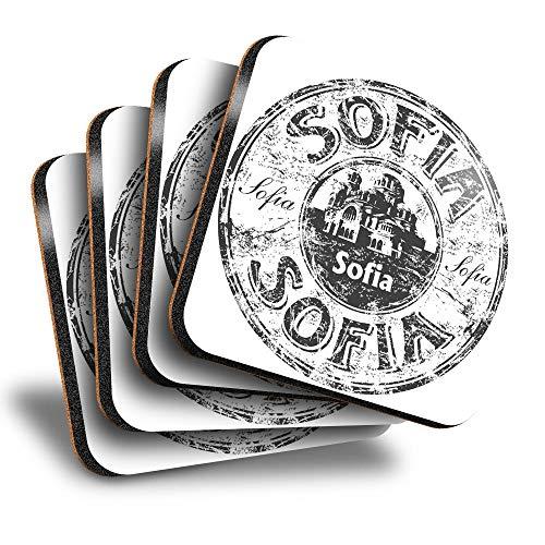 Destination Vinyl ltd Great Posavasos (juego de 4) cuadrados – BW – Sofia Bulgaria sello de viaje bebida brillante posavasos / protección de mesa para cualquier tipo de mesa #40417