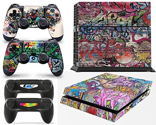 giZmoZ n gadgetZ GNG PS4 Konsolen-Gehäuseaufkleber, Motiv: Graffiti, inklusive 2er-Set mit Aufklebern für Controller