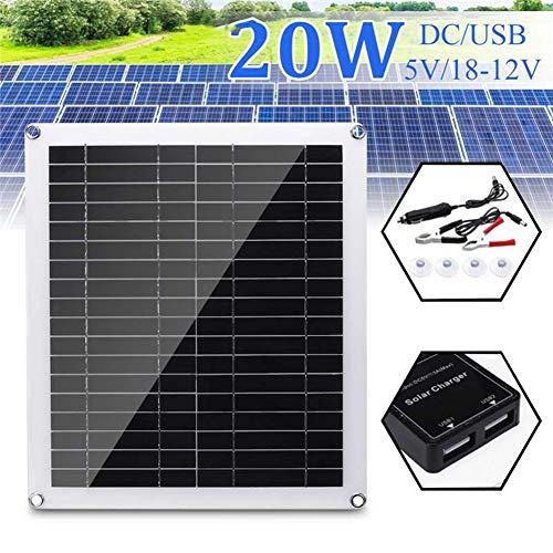 AIZYR 20Wpanel Solar Plegablekit De Cargador De Batería,Central Eléctrica Portátil como Generador Solar para La Cámara De La Tableta del Teléfono Celular Dispositivo Electronico USB