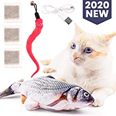 🐈 IRRESISTIBLE TO CURIOUS KITTIES - A real stand-by for prey, this electric fish toy has a built-in motion sensor with wiggles mode that activates every time your cat touches it; The next second the fish toy starts to wiggle and flop, inviting your c...