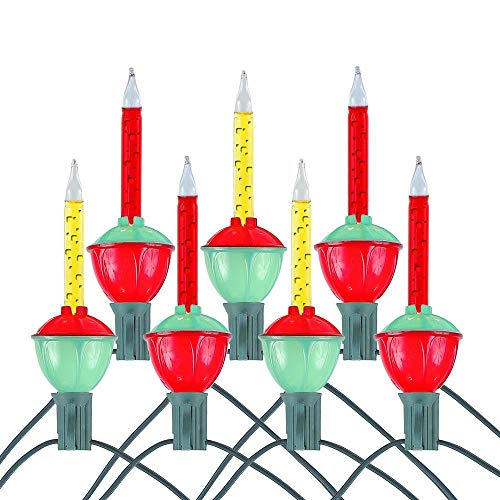 Novelty Lights, Inc. Bubble-Set-7 Tradtional Bubble Light and Stringer Set, 4 Orange/3 Red Bubble Fluids, Green Wire, C7/E12 Candelabra Base, 7 Pack