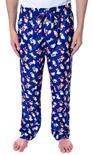 Disney Men's Snow White and The Seven Dwarfs Allover Character Loungewear Sleep Pajama Pants (X-Large)