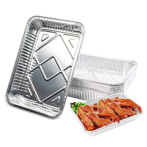 OMZGXGOD 25 Bandejas de Aluminio Desechables, Hornear, Asar y Cocinar, Bandejas De Papel Aluminio para Hornear 19,8 cm x 11,3 cm x 4,5 cm / 650ml,Seguro de Usar en Horno