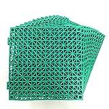 12 Pack Modular Interlocking Cushion 11.5' x 11.5' Mat Floor Tile Mats Drain Pool Patio Balcony Yard Pet Area Washer Pad(Green)