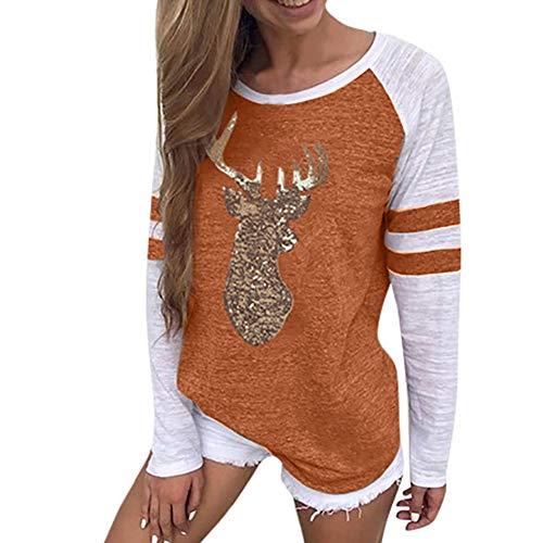 OverDose Damen Tuniken Pullover Festival Weihnachten Frauen Rentier Blusen T-Shirt Xmas Party Clubbing Schlank Langarmshirts(Orange,42 DE/XL CN)