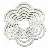 PME PNF1 Tagliapasta e Tagliabiscotti a Forma di Fiore, Bianco, 6 unità