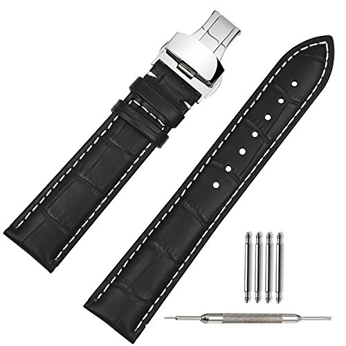 TStrap Uhrenarmband 20mm Leder - Armband Schwarz Herren - Lederarmband Uhrenband mit Edelstahl Faltschließe Faltschliesse - 18mm 19mm 21mm 22mm