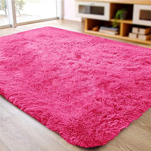 ACTCUT Super Soft Indoor Modern Shag Area Rugs Fluffy Beding Room Shaggy Carpets Dining Living Room Nursery Rug 2.5' x 5.3', Hot Pink