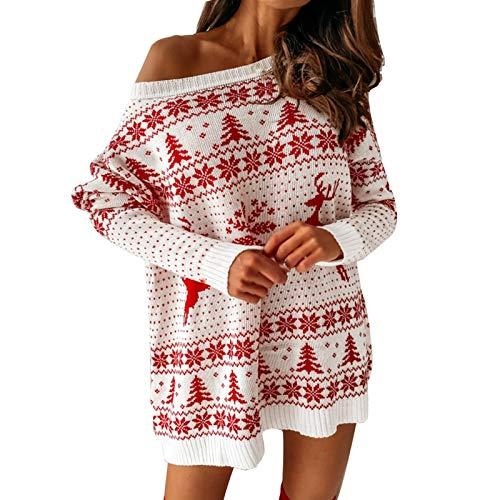 Your New Look Frauen O-Ausschnitt Elch Schneeflocke Weihnachten Pullover Strick Minikleid Langarm Bedruckter Wickel HüFte Enges Kleid