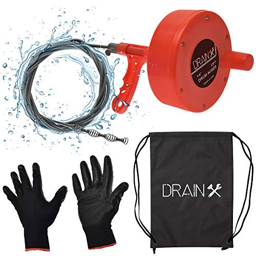 DrainX Plumbing Snake Drain Auger | 25-Ft Drain Cleaning Cable Plumbers Auger with Work Gloves and Storage Bag Included!